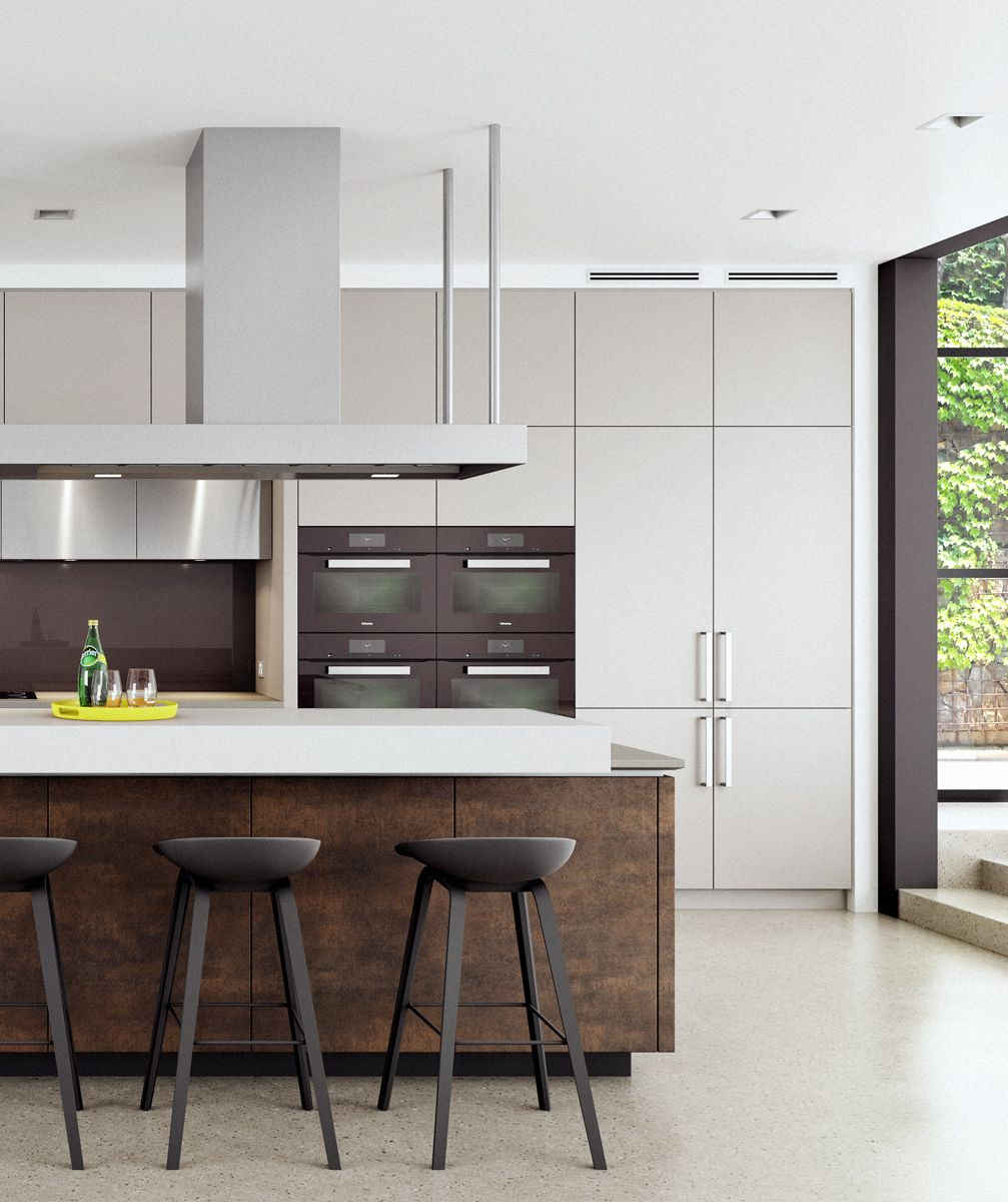 Neolith Iron Moss doors on the island and stainless steel highlights ...