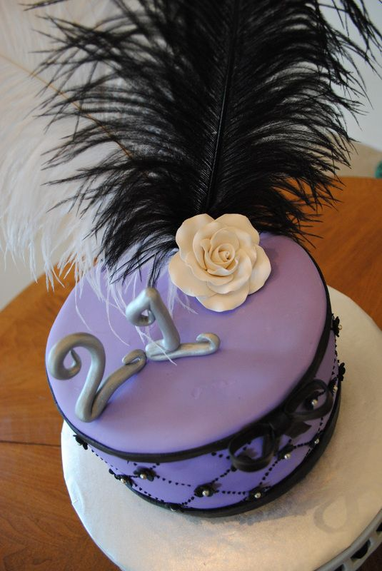Lavender Birthday Cake With Feather And Flower Bangingcakes