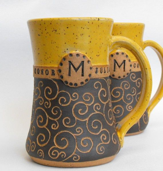 Pottery Wedding Anniversary Gifts: Monogrammed Mugs, 2 Piece Set, Limited Edition, Carved