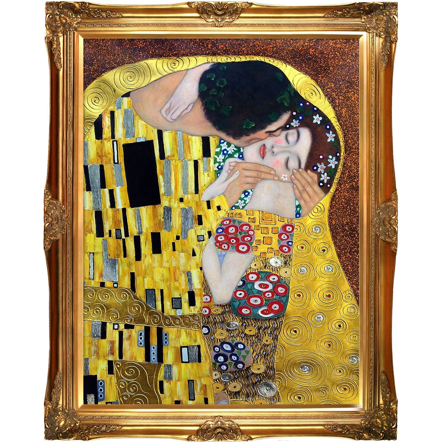 La Pastiche The Kiss, by Gustav Klimt Metallic Embellished Framed ...