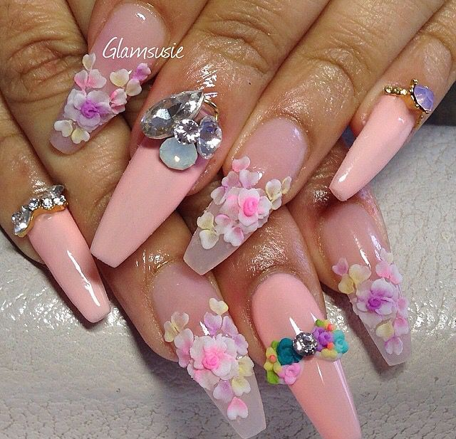 Fashion Nails, Flower Nails, Bling Nails