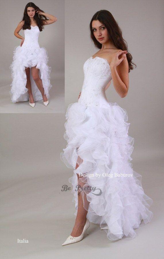92620d65d83ca85 Свадебное платье Италия - цена 12800 рублей, Короткие со шлейфом, цвет  белый - Свадебный