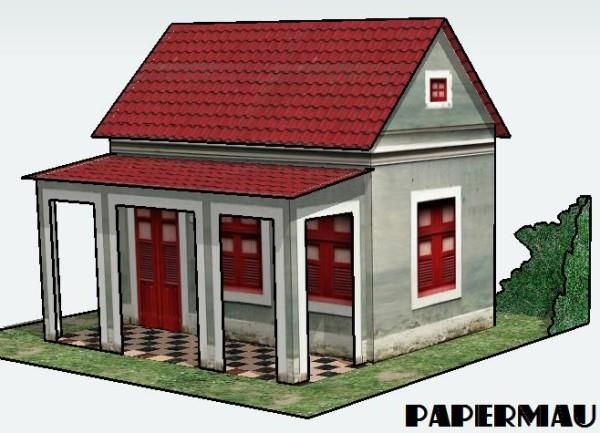 Simple House With Veranda Free Building Paper Model