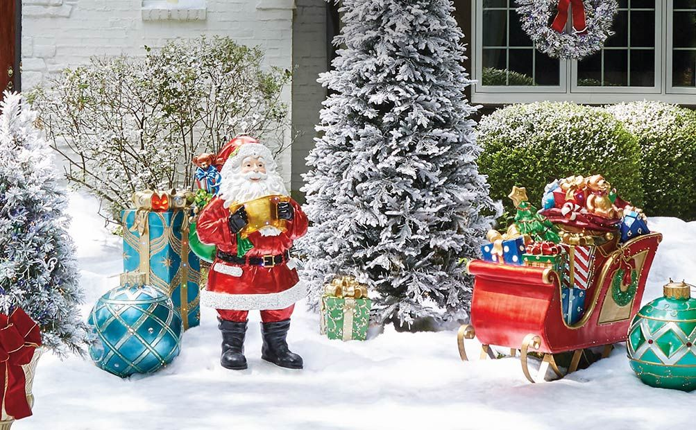 Outdoor Decor Santa Display With Cute Sleigh Loaded With Gifts Among A Snowy Landsc Outdoor Christmas Decorations Outdoor Christmas Front Porch Christmas Decor