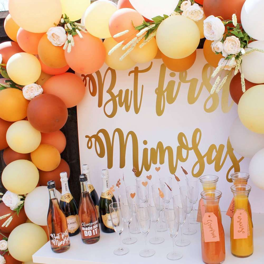 bridal shower themes for spring%0A But first  mimosas Bridal Wedding Shower Party Ideas   Photo   of