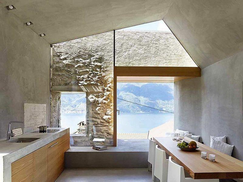 Beton In Interieur : Haus aus stein und beton mit modernem schlichtem interieur