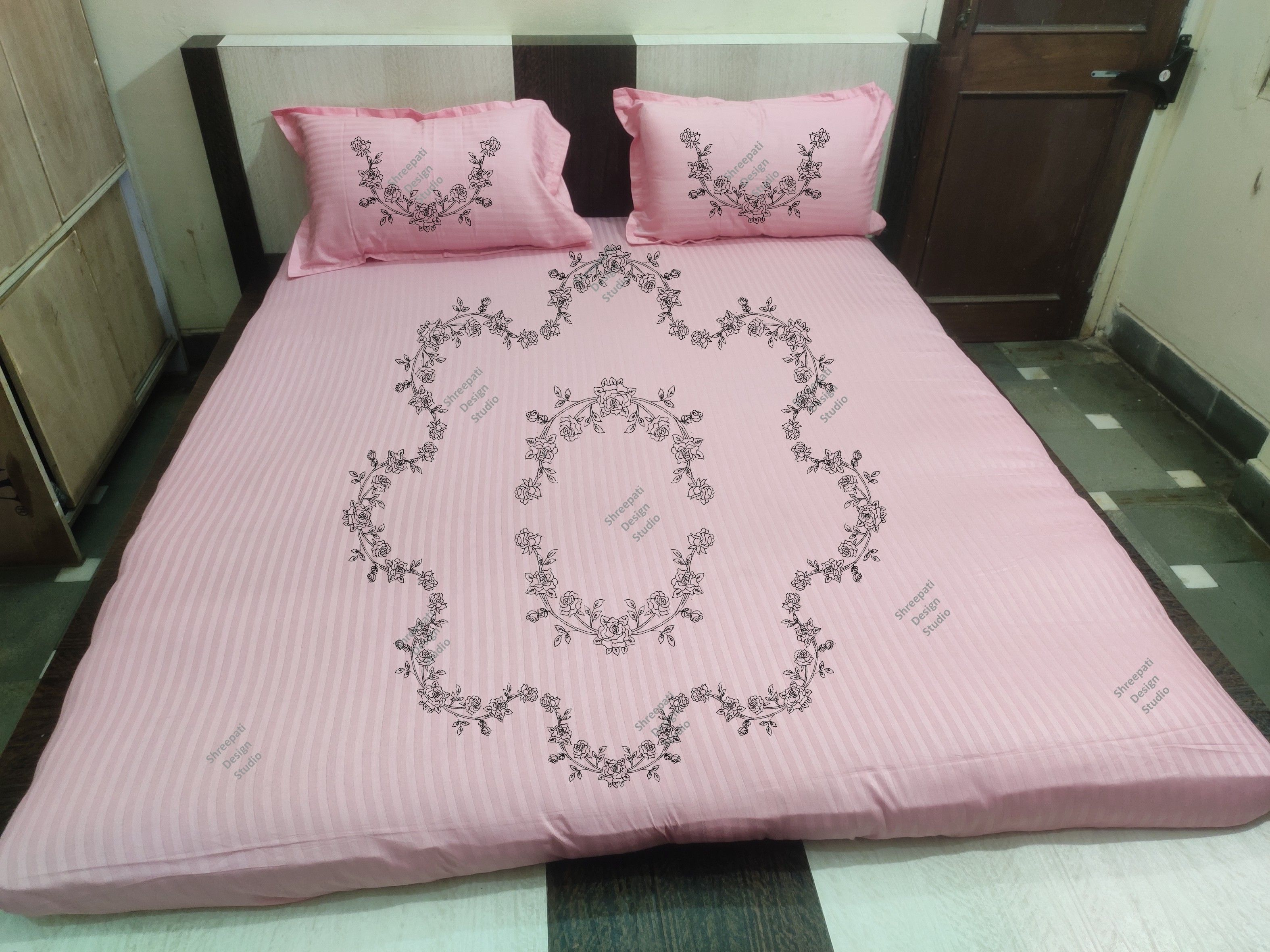 Fabric Painting Design Traced Bed Sheet Kit With Thread King