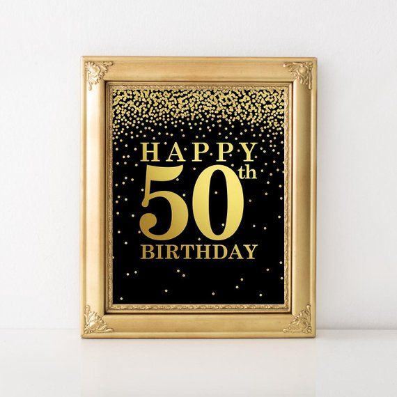 photograph regarding Printable 50th Birthday Signs referred to as Joyful 50th Birthday Indication, Printable 50th Birthday decor