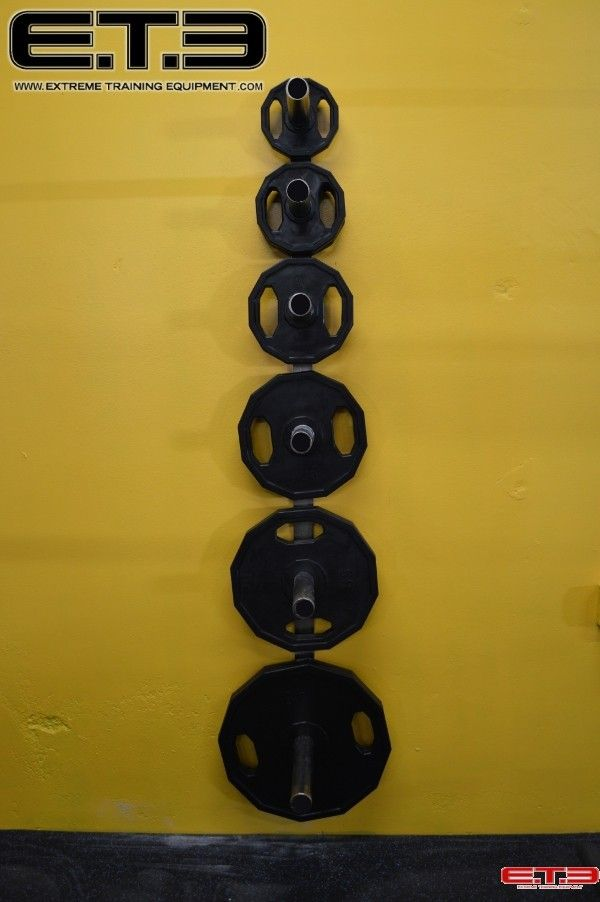 WALL MOUNTED OLYMPIC PLATE RACK. Save some floor space in your gym ...