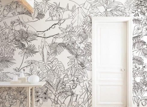 Papier Peint Jungle Tropical Noir Et Blanc Panoramique Wallpaper