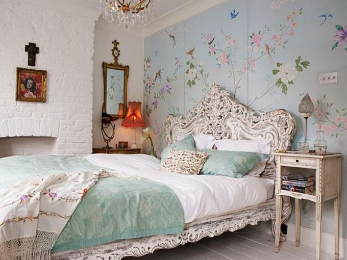 Bird Themed Home Decor Pale Sky Blue Wallpaper Bedroom With Ornate Detailing Wrought Iron Headboard White Stone Wall Chandelier