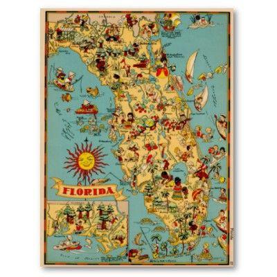 Florida Tampa St Pete Orlando Destin Pcb Miami St George Daytona Vero Beach St Augustine Jacksonvi Map Of Florida Florida Poster Vintage Florida
