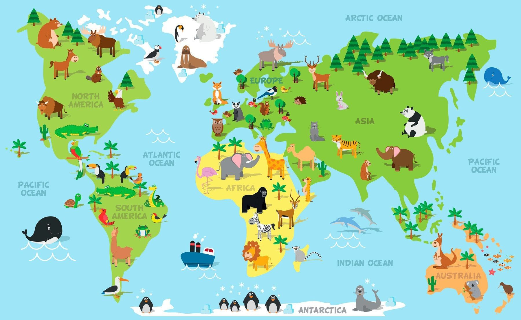World map with continent names and ocean names new funny cartoon world map with continent names and ocean names new funny cartoon world map children different stock gumiabroncs Choice Image