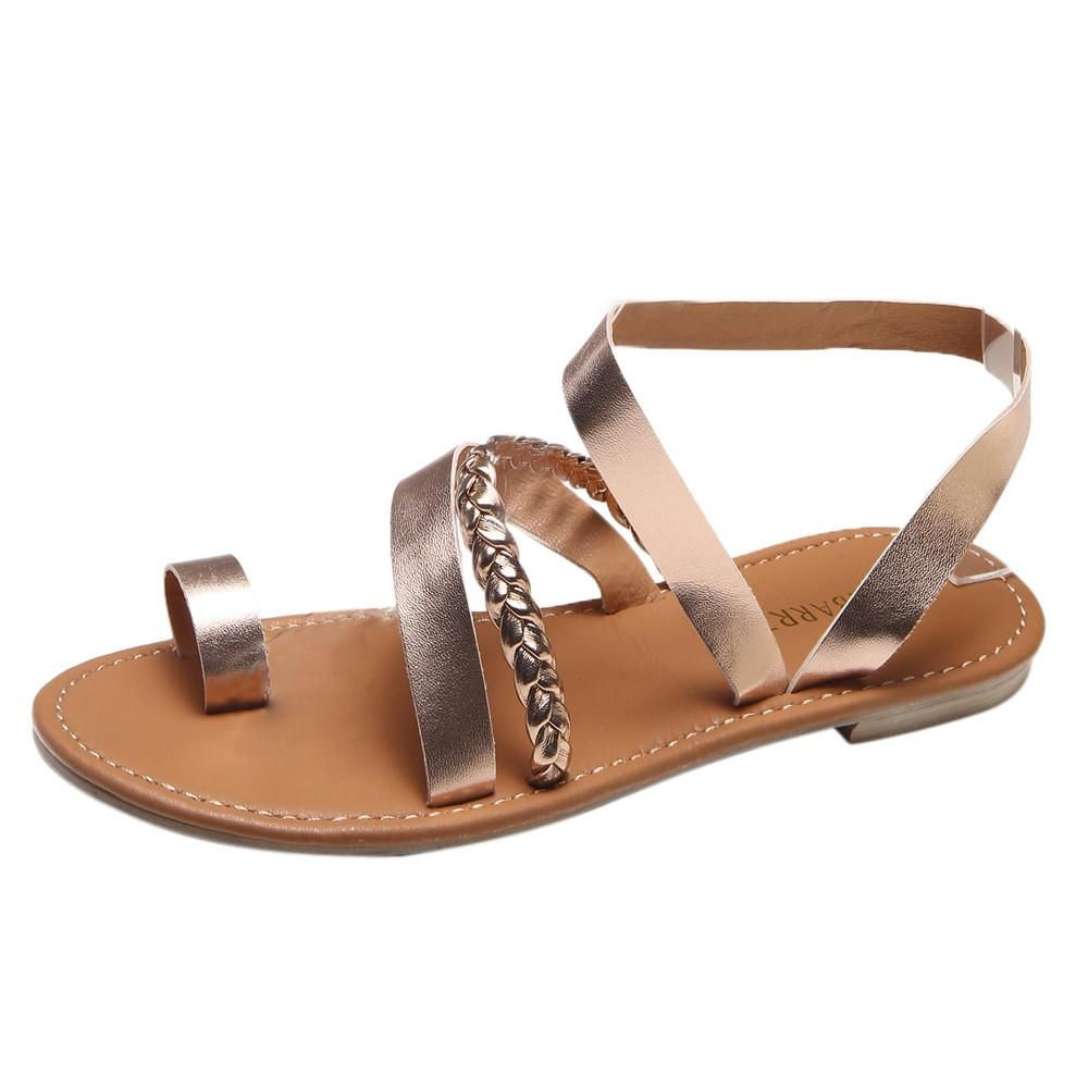 c31dbc1a6 Women Summer Strappy Gladiator Low Flat Heel Flip Flops Beach Sandals Shoes  Gladiator Sandals