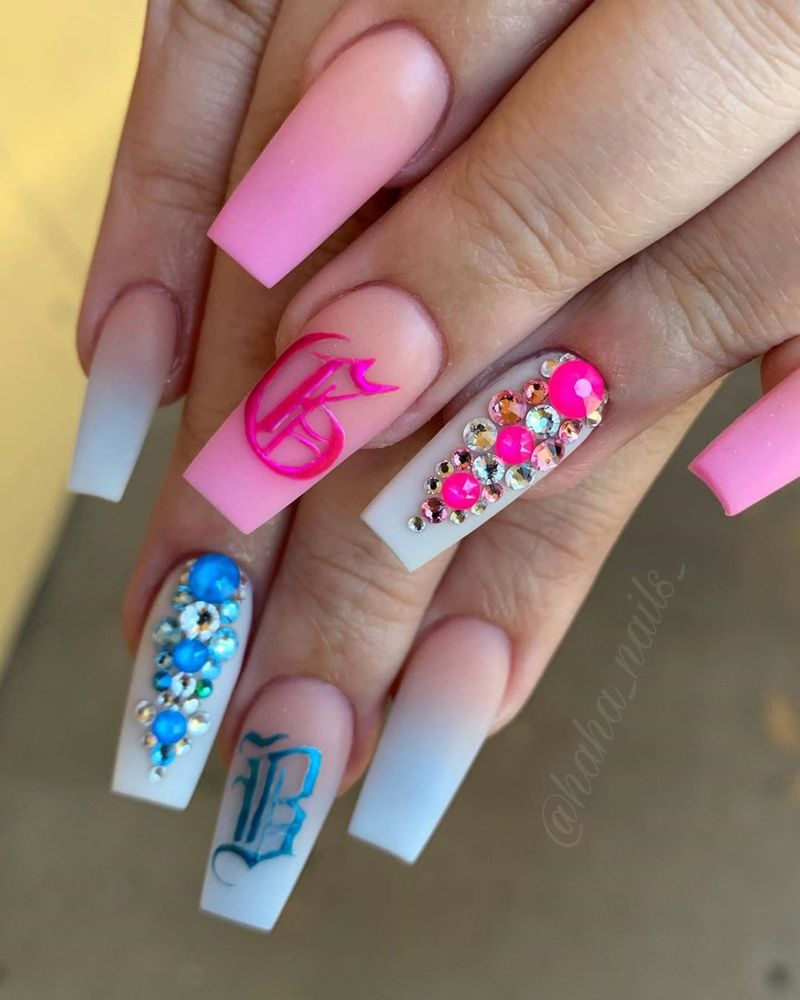 Hailey Ann Craner Dch Sales On Instagram Gender Reveal Nails Acrylic Colors Are From Dchacry Gender Reveal Nails Baby Nails Baby Shower Nails