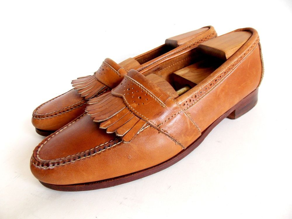 8522f4fde01 Cole Haan Pinch Leather Tassel Saddle Tan Loafers 12D Slip on Shoes   ColeHaan  LoafersSlipOns