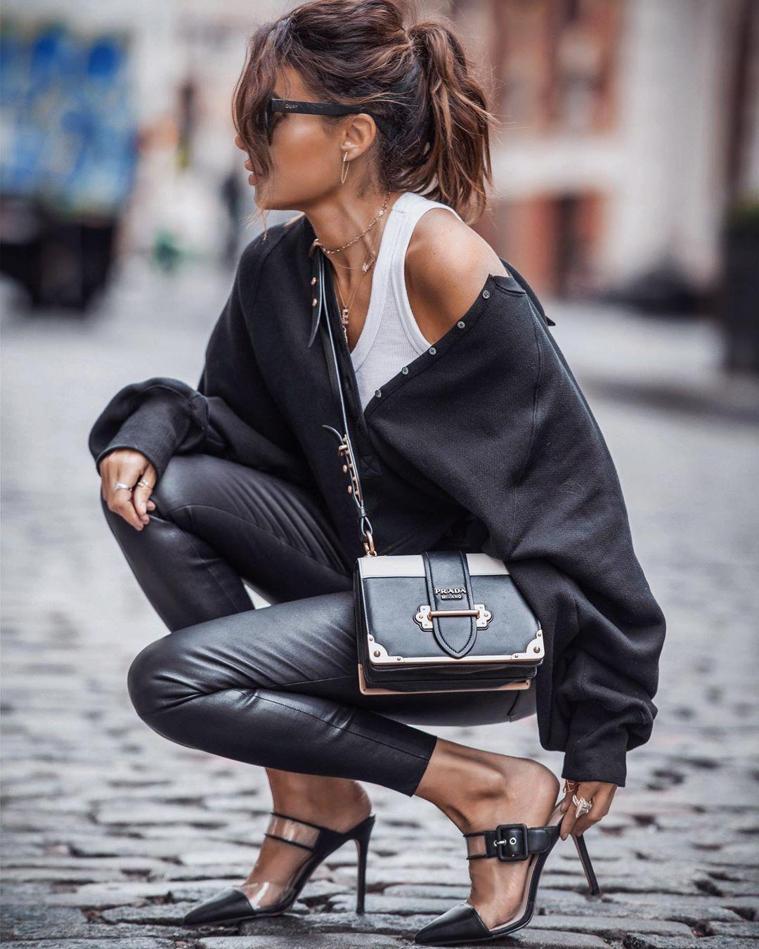 "Erica Hoida • Fashioned|Chic on Instagram: ""Sweatshirts + Stilettos ⚡️ Elevating casual style."