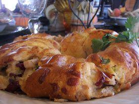 Left over turkey! Turkey Cranberry Wreath