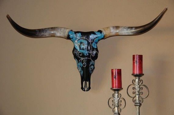 Paint Amp Rhinestone Texas Longhorn Skull Quot Kayla Quot Cow