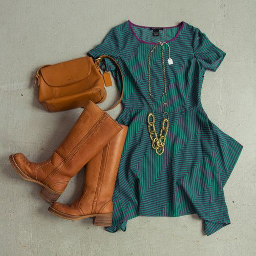 OUTFIT! Chevron dress with vintage campus boots, a Coach bag, and a vintage chain necklace.