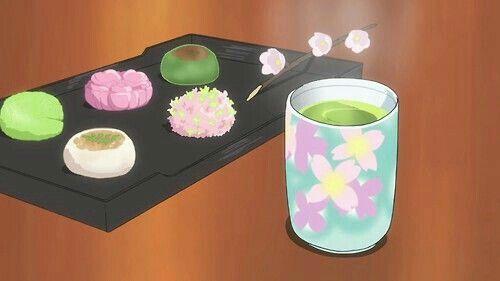 Mochi, tea; Anime Food