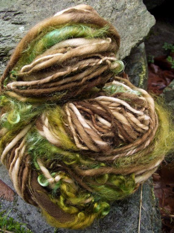 Handspun yarn, art yarn handpainted mohair locks Merino wool yarn-Treebeard