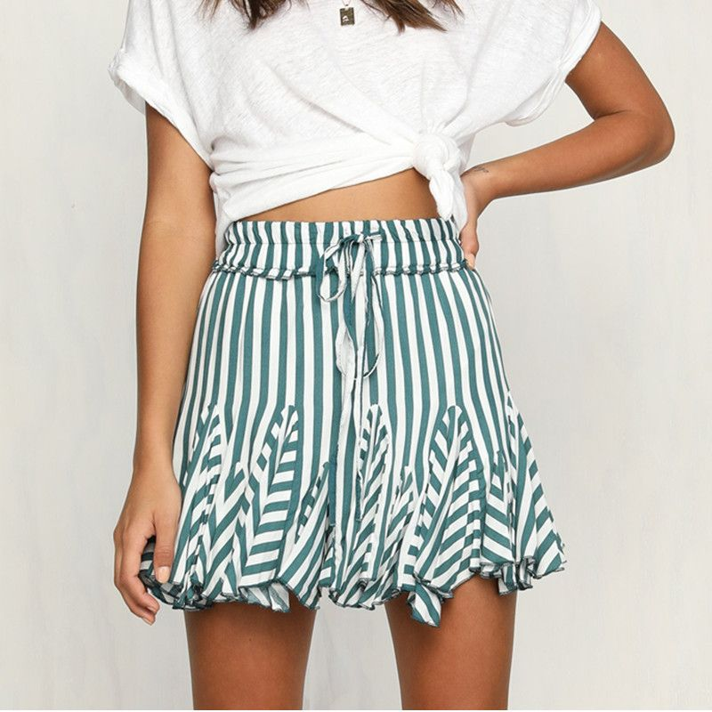 Summer Harajuku Elastic High Waist Skirt Women Sweet Striped Lacing Skirts Womens Mini Tulle Pleated Skirt Femme