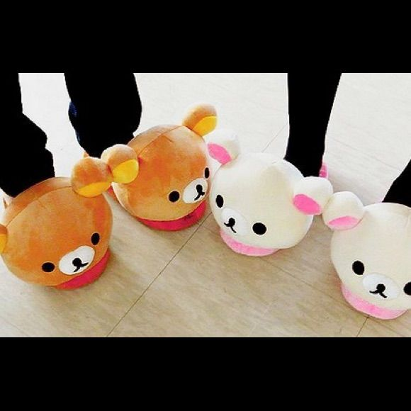Photo of Rilakkuma Shoes | Cute Slippers Plush Teddy Bear Phone Case Covers | Color: Pink/White | Size: Various
