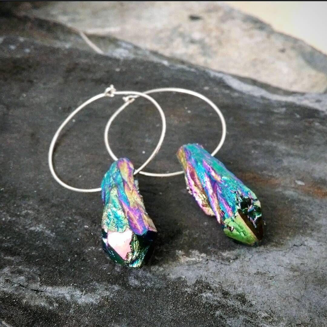 Titanium Coated Quartz Earrings