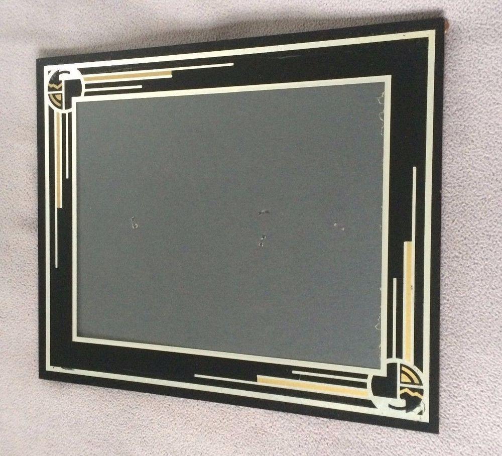 Vintage 1930\'s BLACK ART DECO Picture Frame JAZZ AGE Reverse Painted ...