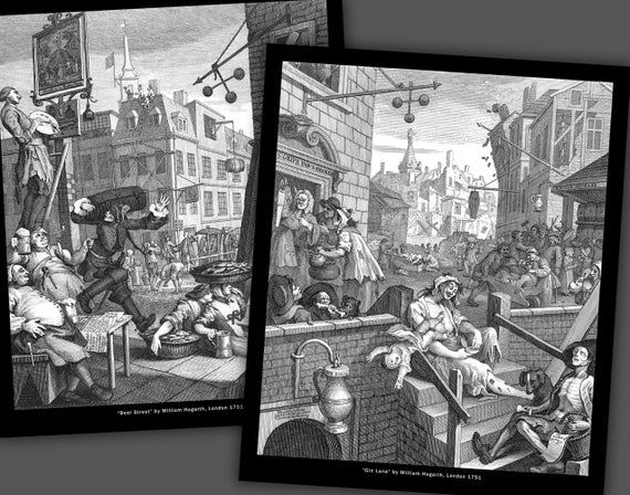 William Hogarth Gin Lane And Beer Street 10x12 Inch Prints