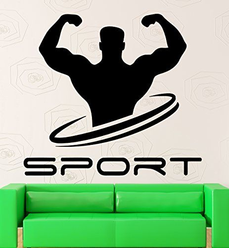 wall decal sport bodybuilding gym muscled fitness vinyl s on wall logo decal id=44422