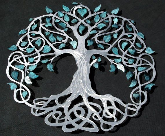 Infinity Tree Of Life Silver Trunk With Teal Sparkle