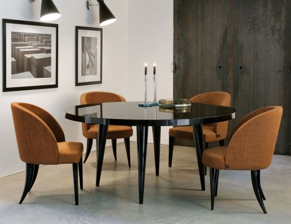Elle Luxury Italian Designer Dining Table In Black Lacquered Wood