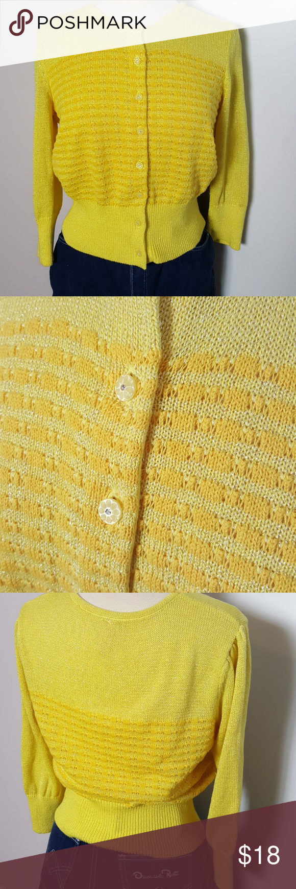 3a30c3370e6e22 Yellow Vintage 60s Madmen Style Cardigan Sweater Excellent condition. A  modern take on a 1960s