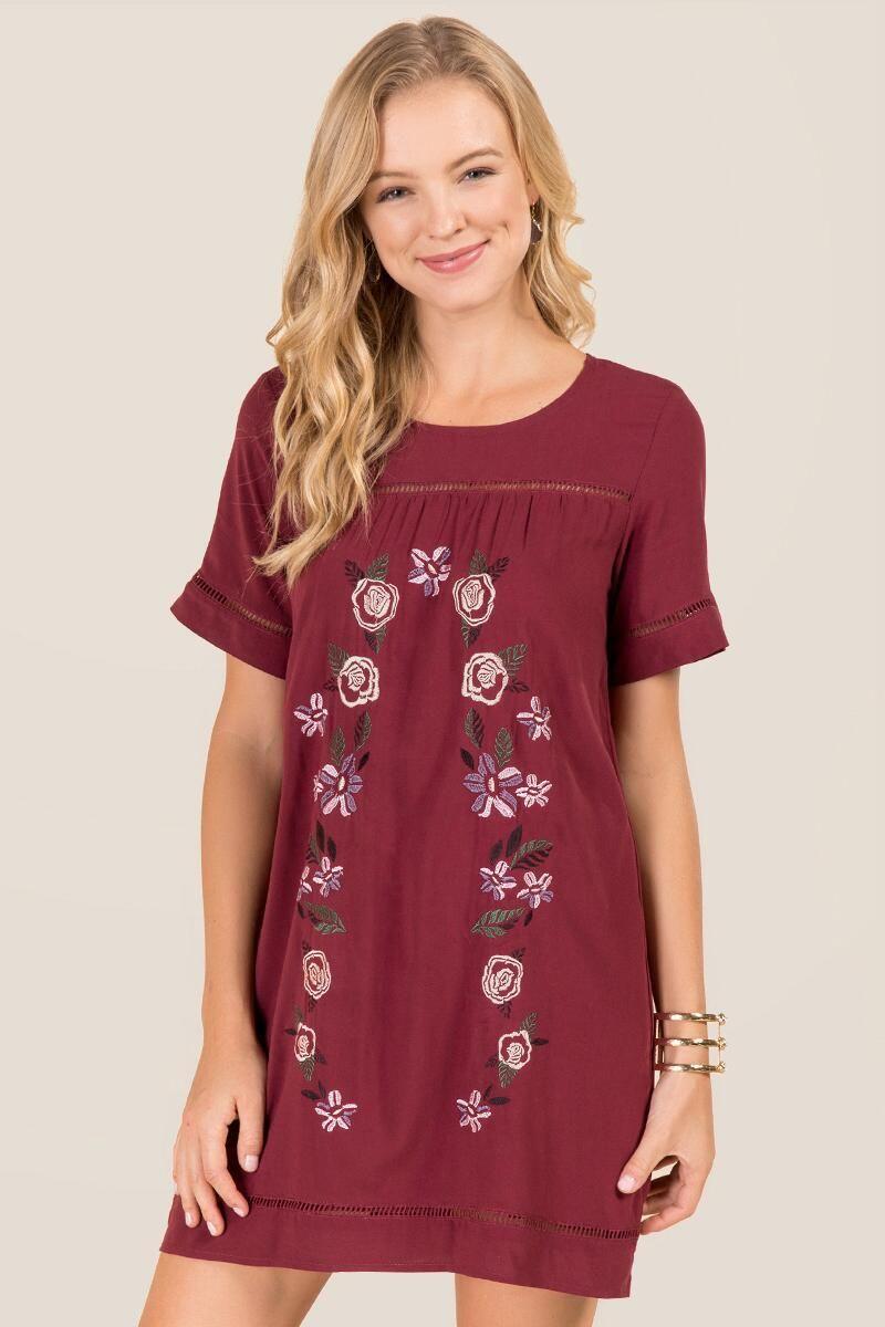 Karoline Floral Embroidered Shift Dress  Floral