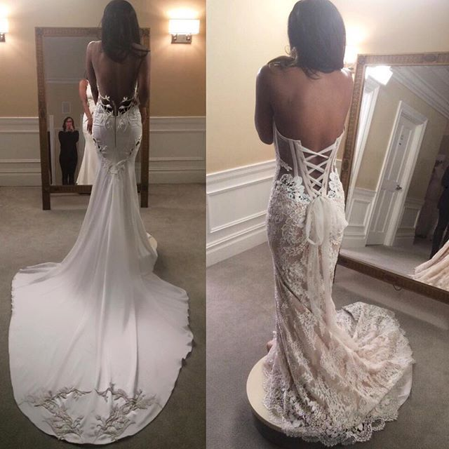 Help @vickyjeudy decide witch @PninaTornai gown she should say YES to.. Left or Right? #OrangeIsTheNewBlack  Repost from @vickyjeudy ・・・ 'Planning a glamorous look for a special occasion.. Guys, which @PninaTornai gown should I say YES to? I am over the moon with the #PninaTornaiEveningCouture collection - it's out of this world!  And thank you @kleinfeldBridal for making a girl feel extremely special. '