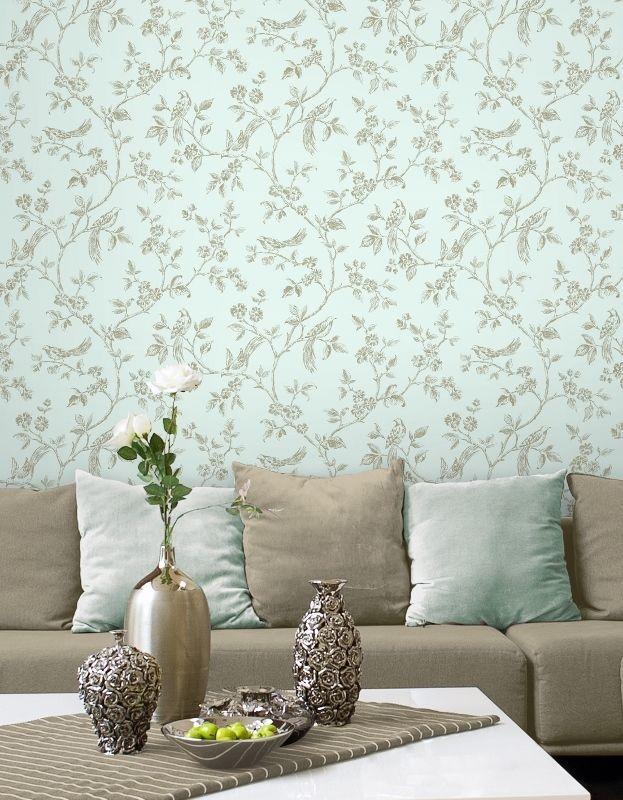Duck Egg Blue Gold Birds Love Live Laugh Luxury Wallpaper Fine Decor