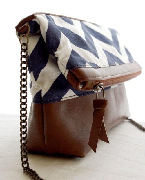 bf9b599d24 Sac bandoulière en cuir et toile bleu marine | Tuto sacs | Sac ...