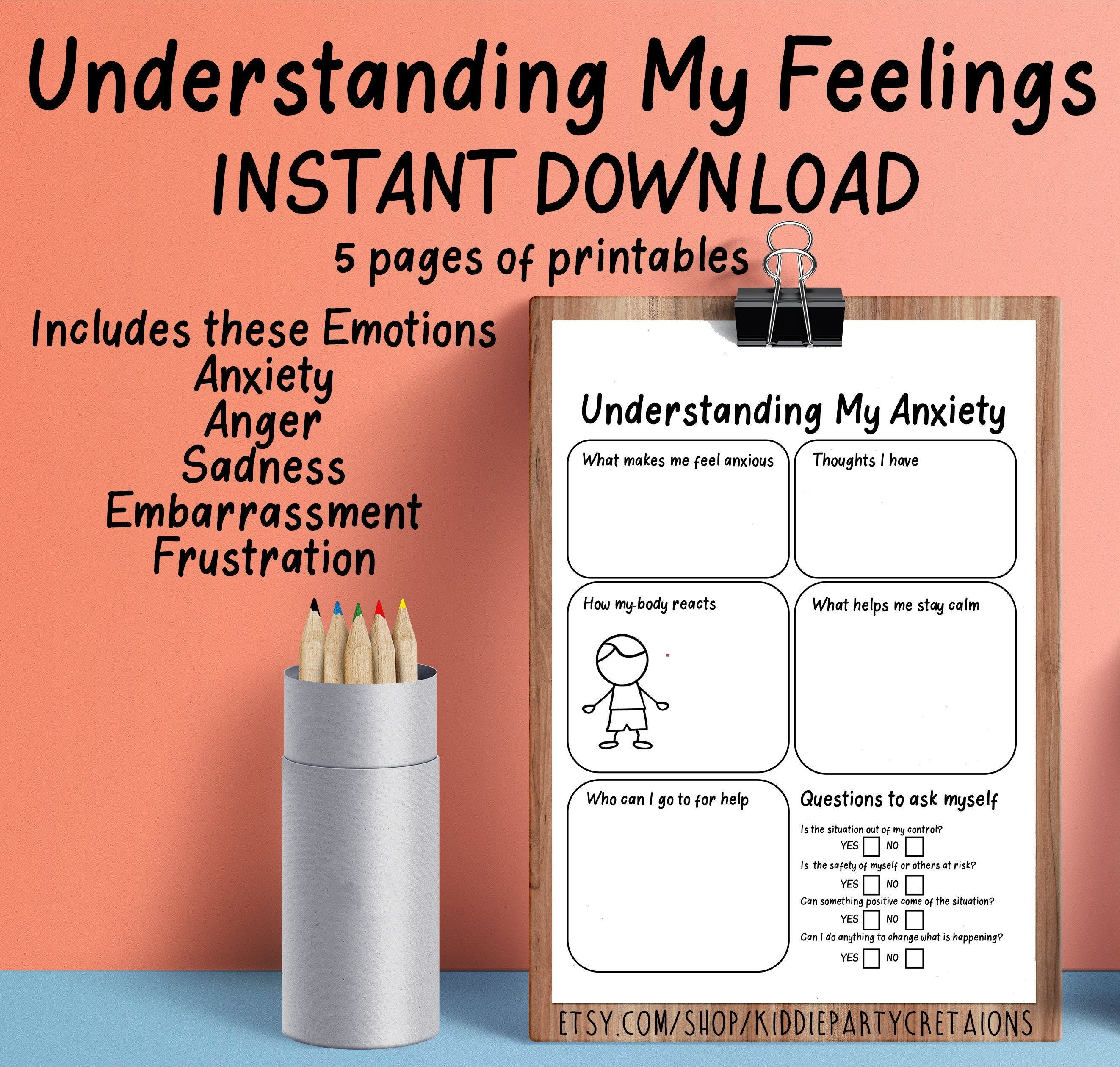 Understanding My Feelings Printable Worksheet Self Help