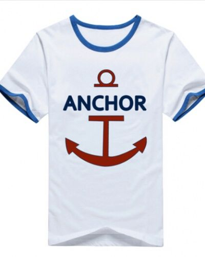 One Piece Luffy Same Paragraph Tshirt Anchor Printed For Men