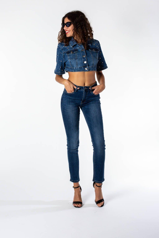 22099cc125 MIMI' MUA' Firenze JRE9-6028 Giubbotto jeans blu con borchie nel ...