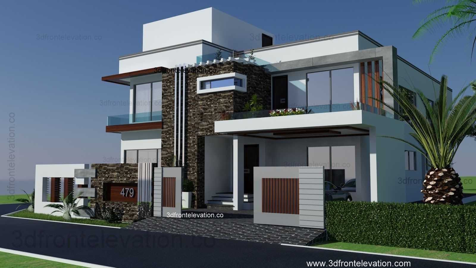 Modern house front elevation designs for Home designs 12m frontage