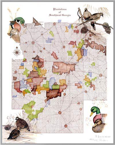 Map Of Georgia Plantations.2001 Plantations Of Southwest Georgia Rena Divine Plantation Map