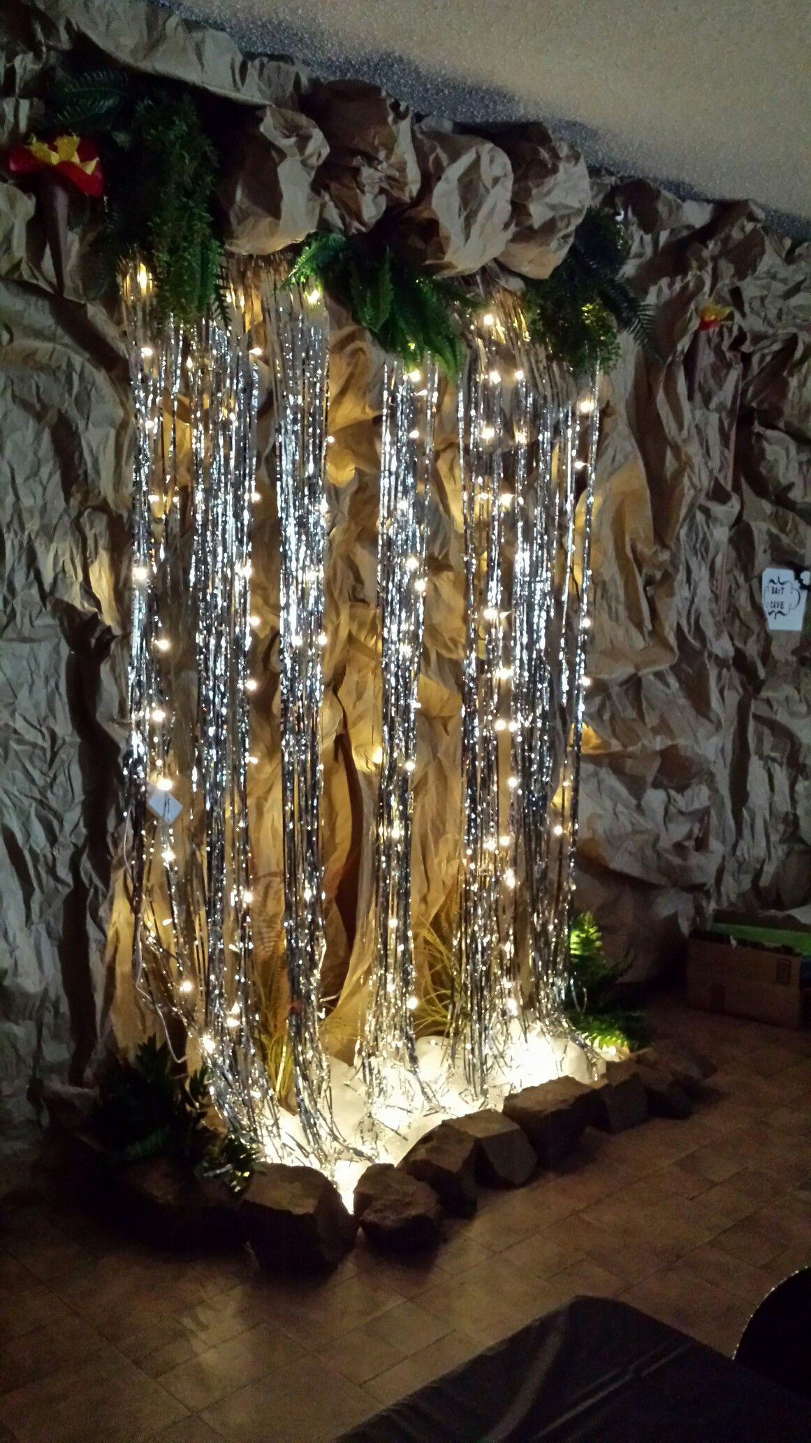 Waterfall with curtain lights