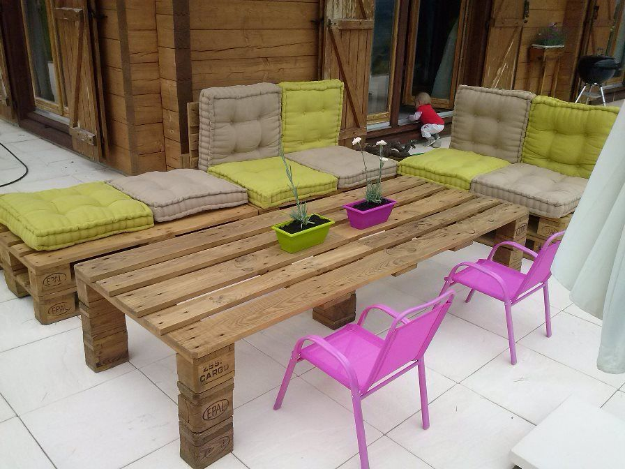 Salon de jardin en palettes | Pallets, Pallet furniture and Pallet ...