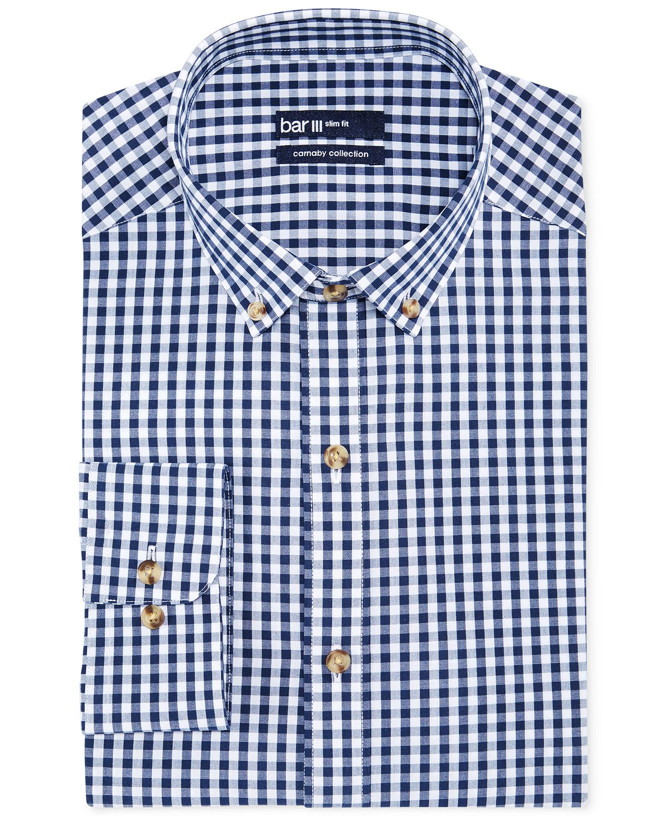 1a074aa41ece Reg $57.50 Bar III Carnaby Collection Slim-Fit Navy and White Gingham Dress  Shirt - Dress Shirts - Men - Macy's