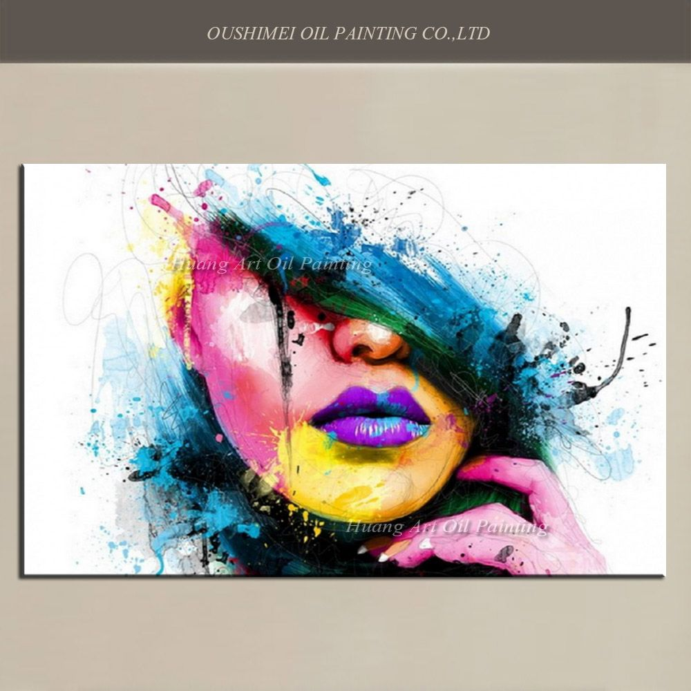 Wall art for large fashion painting canvas women face picture