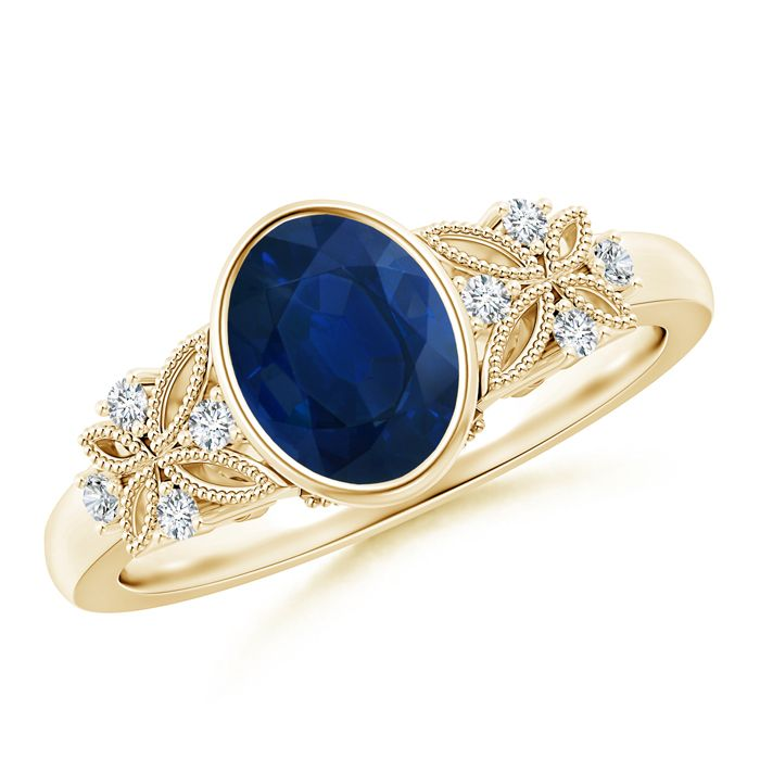 Angara Bezel-Set Oval Sapphire Ring with Diamond Accents in Rose Gold dIbVK4