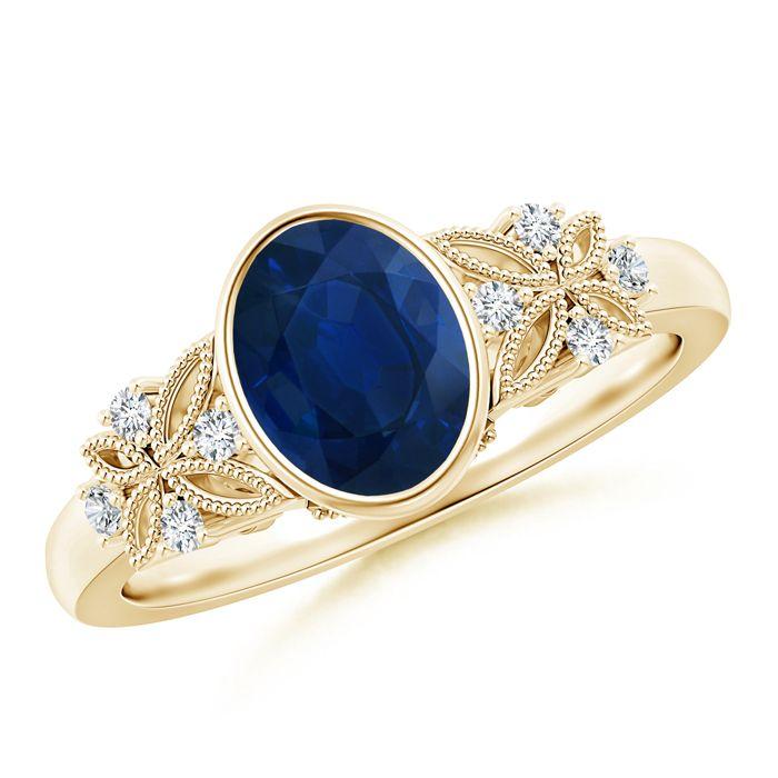 Angara Vintage Oval Pink Tourmaline Bezel Ring with Diamond Accents vvw8az
